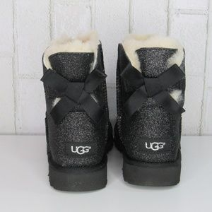 UGG Mini Bailey Bow Glitter Sparkle Black Boots